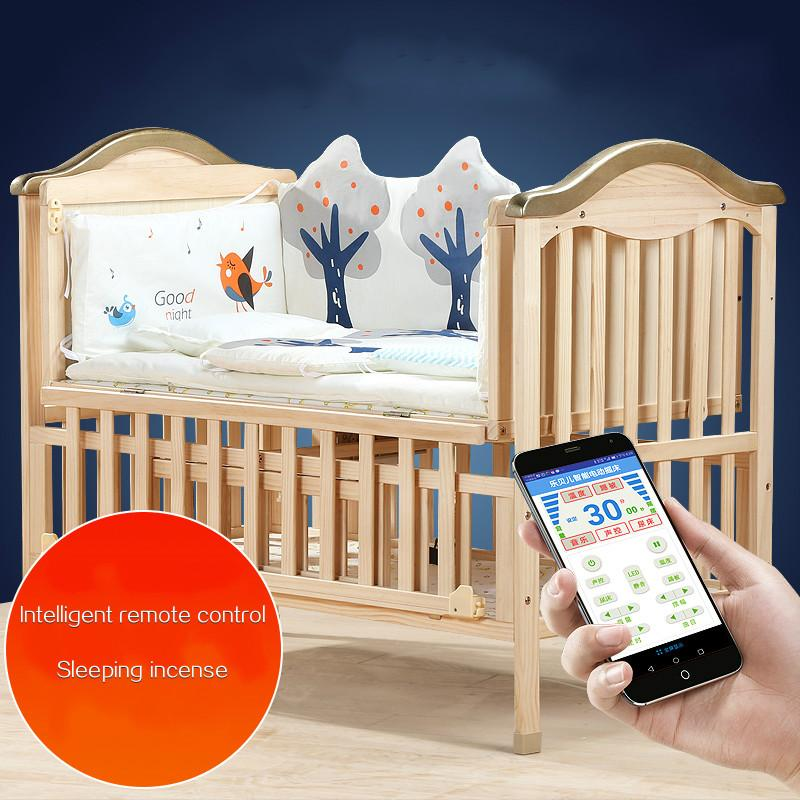 27dac189ed29a Eco Friendly Baby Crib Solid Wood Intelligent Remote Electric Rocking  Newborn Cradle Bed Multifunctional Baby BB Stitching Cot Portable Cribs Crib  Set From ...