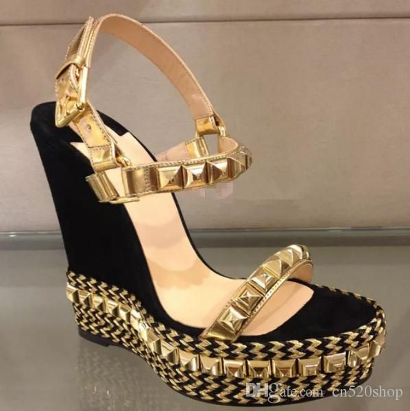 87f7272e4f2e2a Wedge Heels Elegant Women High Heels Sandals 2018 Black Gold Summer Women  Pumps Thick Sexy Platform Casual Sandals Available Wedge Shoes Womens  Sandals From ...