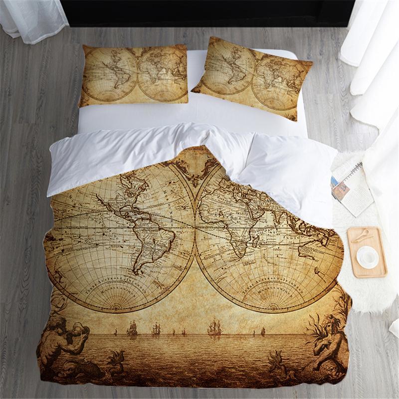 Fanaijia 3d Vintage Map Bedding Set Queen Size Duvet Cover Sets For ...