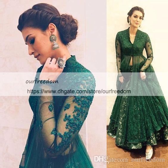 2019 Modest Hunter Green V Neck Evening Dresses Lace Long Sleeve Kaftan Abaya Dubai Indian A Line Floor Length Formal Occasion Prom Dresses