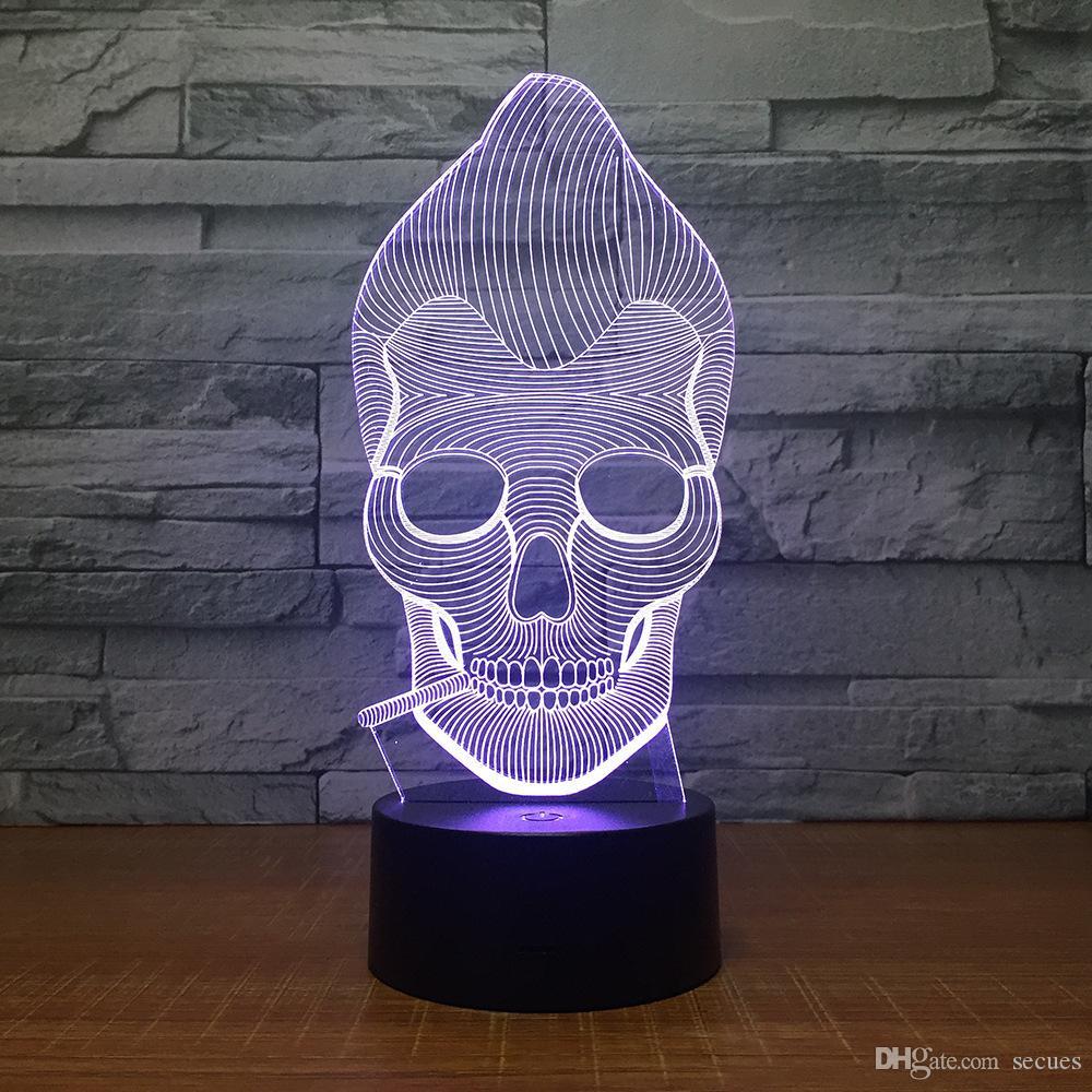 купить оптом курение череп 3d иллюзия свет лампы аа батареи бен Usb