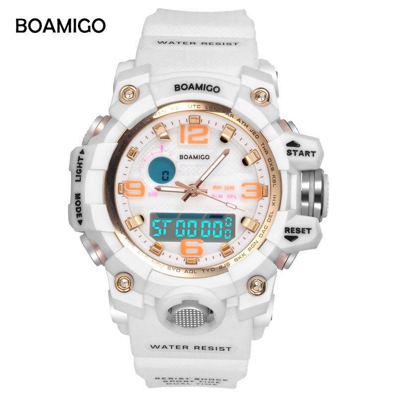 1b7560ea8565 Compre BOAMIGO Marca Relojes Mujer Relojes Deportivos Moda Ladies Quartz Relojes  De Pulsera Blanco Swim Digital Shock Reloj Relogio Feminino S915 A  18.12  ...