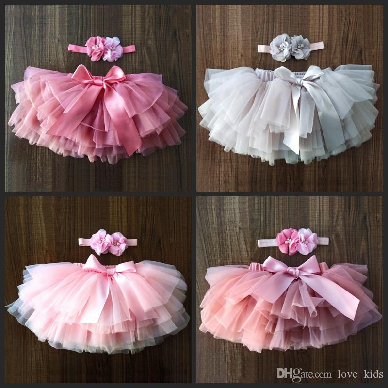 Tutus for babies 9 colors newborn baby solid color tutu skirts with flower headband 2pcs set infant party birthday dress toddler boutiques