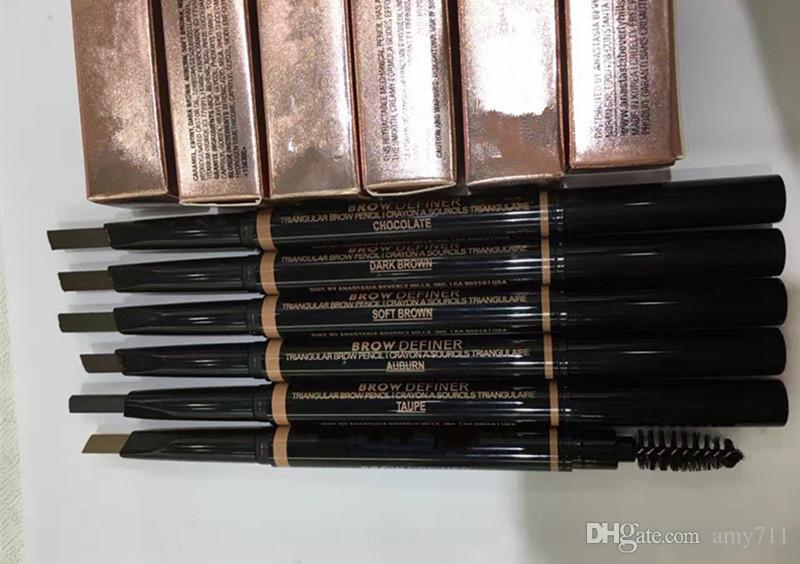 En stock Maquillage chaud Double sourcille crayon crayon crayon ébène ébène brun foncé brun foncé brun noir chocolat dhl expédition
