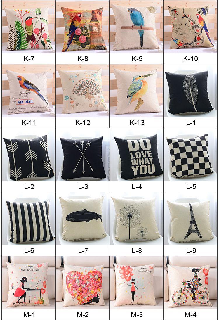 Throw Cartoon Animal Pillow Cotton Linen Sofa Chair Car Pillow Cushion Pillow Fashion Office Bedroom Decorate Pillows+Pillow Core XL-270