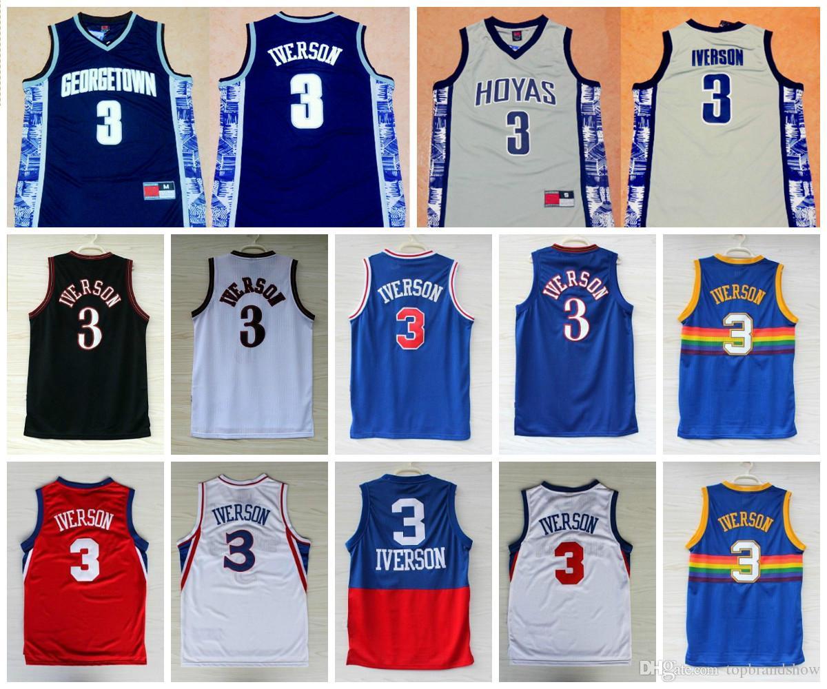 110e0178523e ... sweden best quality 3 allen iverson jerseys georgetown hoyas allen  iverson college basketball jerseys black white