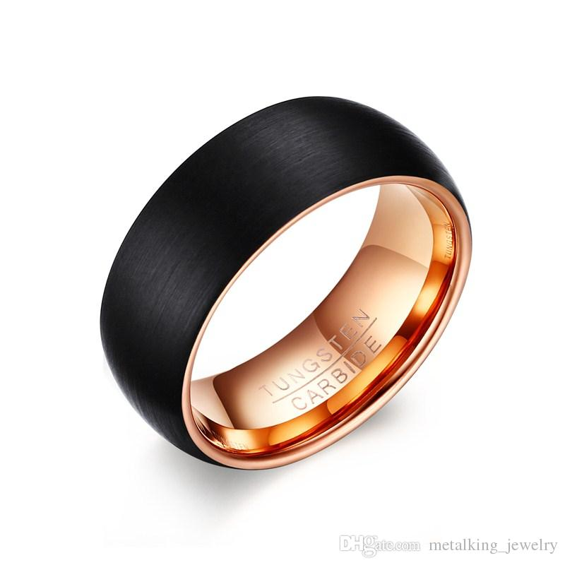 7cfbfd3f48756 Latest Mens Womens Two Tone Jewelry Designs 8mm Black And Rose Gold  Tungsten Carbide Wedding Ring Brushed Dome Comfort Fit,Size 7-12