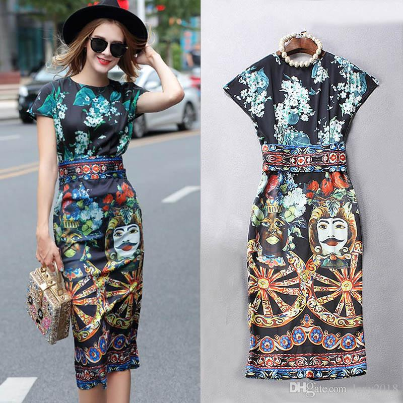 c96abbdbc1 2018 High Quality Women Flora Figure Print Short Sleeve Midi Dress With  Sashes Newest Designer Runway Bodycon Dresses Office Lady Work Dress From  Lexy2018