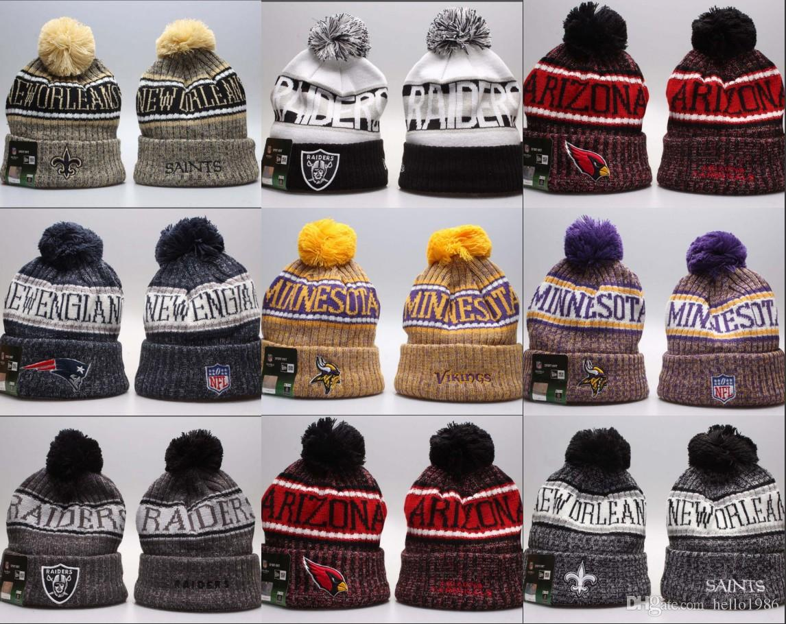2018 New Arrival Beanies Hats Football 32 Teams Beanies Sports Winter Side  Line Knit Caps Beanie Knitted Hats Accept Drop Shippping Ski Hats Newborn  Hats ... b2a2753cd05