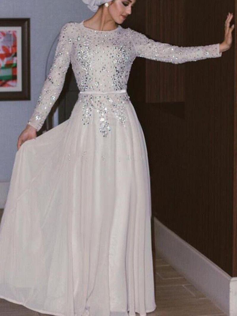 großhandel 2019 neue muslimische abendkleider silber pailletten kristall  perlen chiffon bodenlangen shinning arabisch abaya weiß prom kleider mit