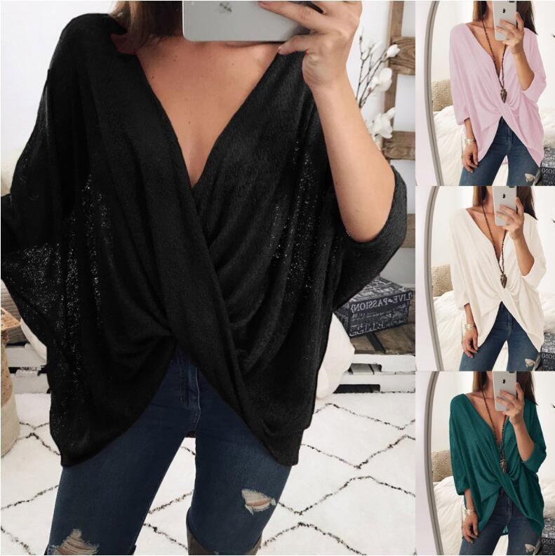 Kadın T-shirt 2018 Bahar Yeni Moda Kadın Giyim Rahat T-shirt Katı Renk Çapraz Kat V Yaka Gevşek Yarasa Kollu Kısa Tops Kadın Peasan