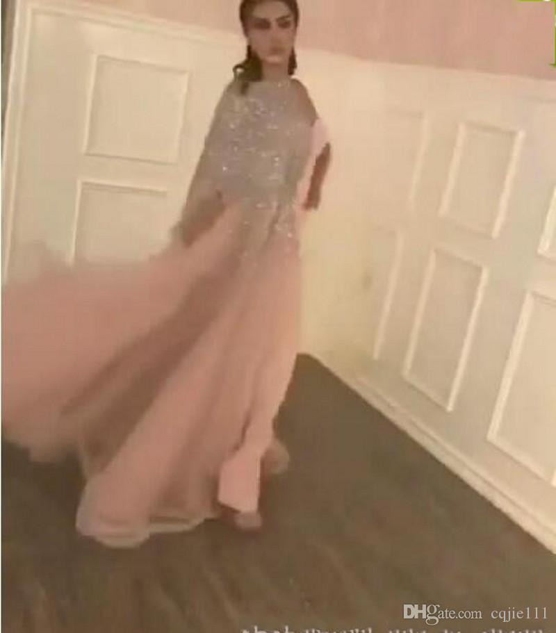 2019 Ballkleider Matte Pink Sheath Split Abendkleider mit Blingbling Silber Pailletten Perlen Asymmetrisch One-Schulter vestidos de novia