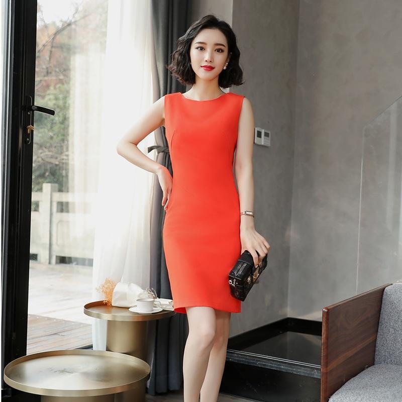 773df7d5b Compre Moda Para Mujer Vestidos De Trabajo Vestido De Fiesta De Verano Para  Mujer De Color Naranja Sin Mangas Elegante Uniforme De Oficina Estilos A   40.66 ...