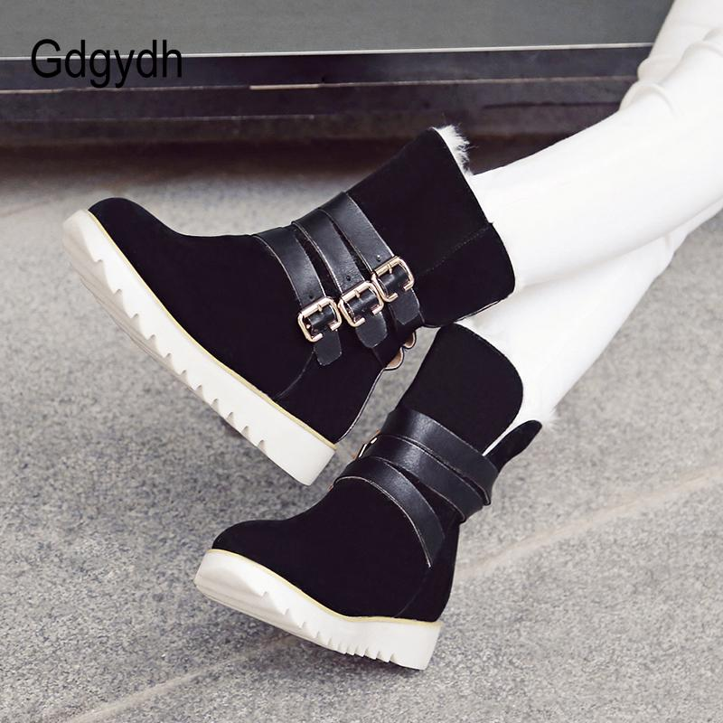 99b4c3b3ffe Gdgydh Flock Rubber Sole Woman Shoes 2018 Fashion Winter Shoes Warm ...