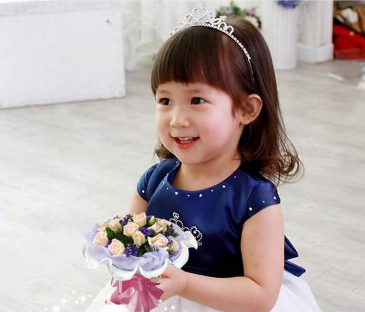 Banquete de boda niños niñas horquilla princesa corona plata cristalina del aro del pelo de diamante Tiara diadema accesorios para el cabello