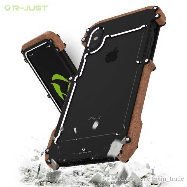 timeless design 71d97 407b8 R JUST Back Cover Aluminum Ally Metal & natural wood Phone Case protective  shell For iPhone X 7/8 PLUS