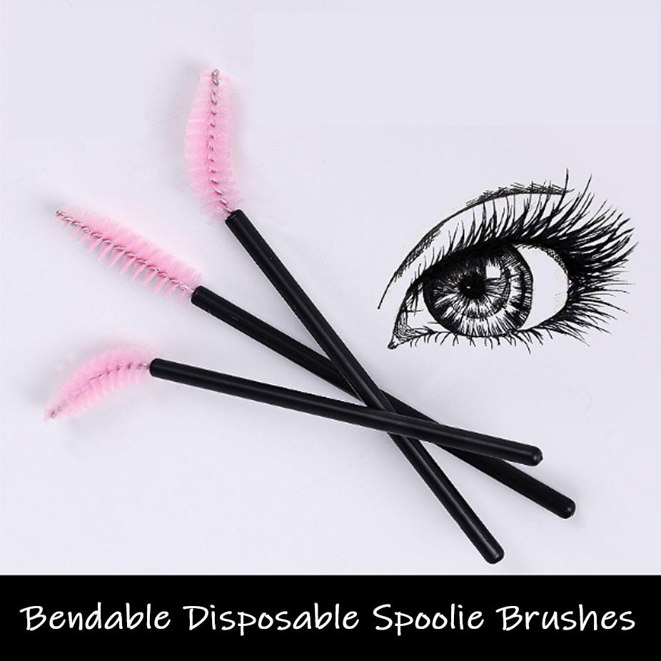 Disposable Spoolie Brush Set (100 Pieces) Professional Bendable Makeup Brushes Eyelash Eyebrow Comb Brush Customized (Free Shipping)