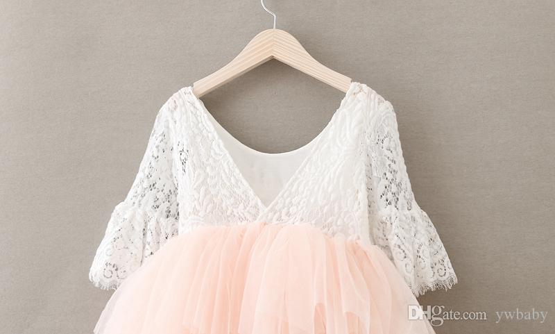 Girls Crochet Lace Dresses Babies Princess Pearl Dress Kids Clothing Flare Sleeve Dress 2018 Baby Girl Clothes