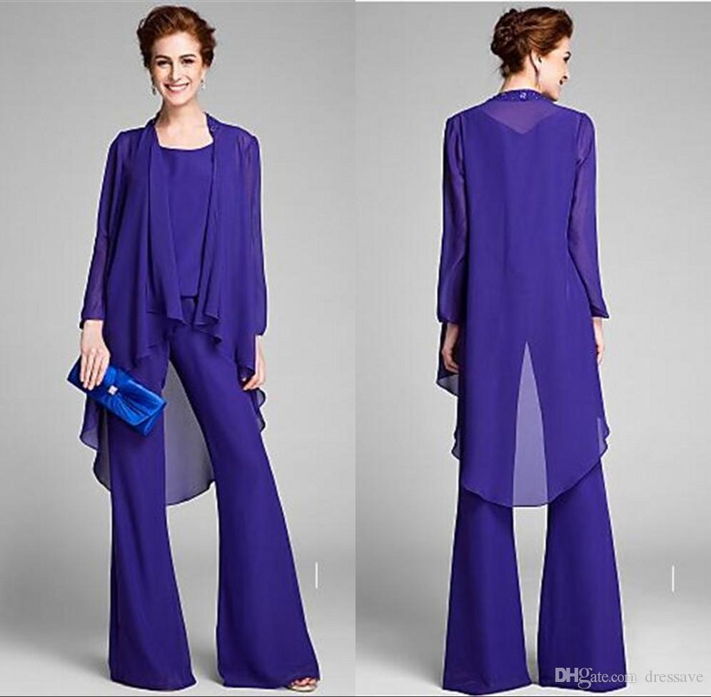 New Designer 3-Piece Set Royal Blue Chiffon Mother of The Bride Pant Suits Long Sleeves Women Party Gowns Plus Size Evening Dresses