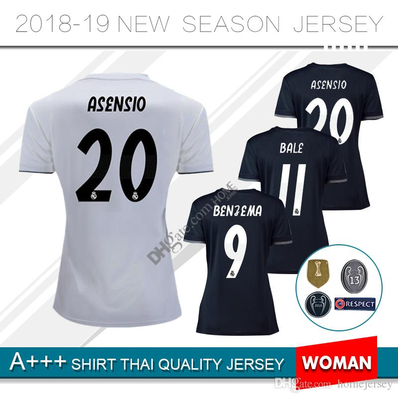 2b5665016 2018 2018 19 Real Madrid Women Home Away 3rd Soccer Jersey Benzema Modric  Lucas Morata Bale Isco 18 2019 Real Football Jeresys From Homejersey