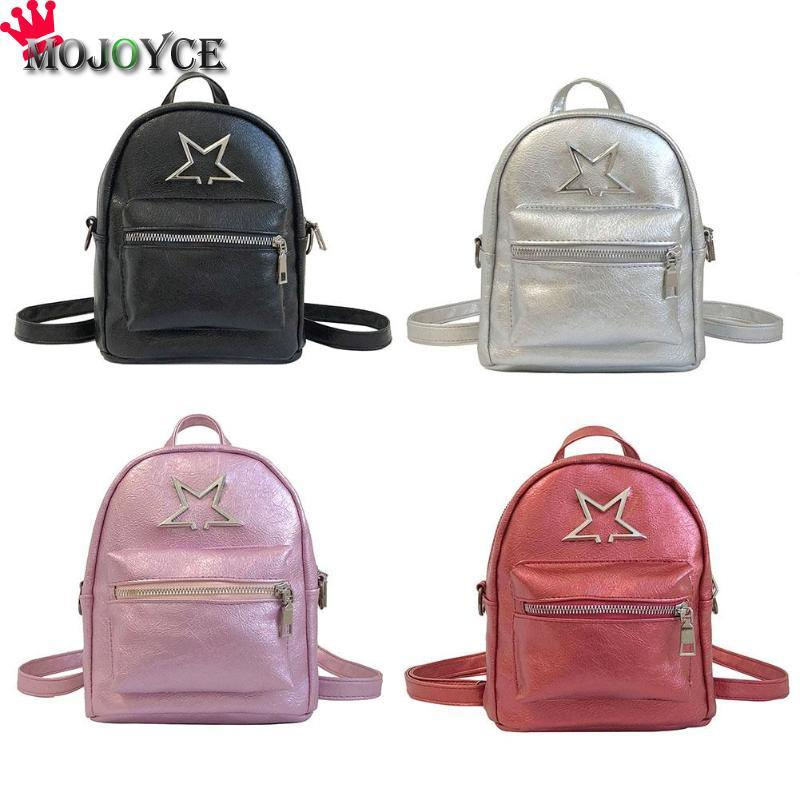 431c0e0826d4 NEW Simple Cute Star Women Girls PU Leather Mini Backpacks Teen Zipper  Fashion Casual Travel Shoulder Schoolbag Laptop Rucksack Backpacks For  College From ...