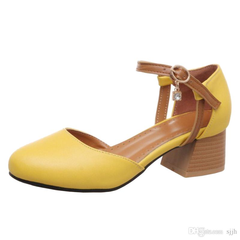SJJH 2018 Woman Sandals with Chunky Heel and Round Toe Elegant Working Chic Shoes for Fashion Woman with Large Size Available A178