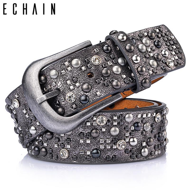 ECHAIN Rivet Vintage Luxury Designer Punk Belts Women High Quality Male Genuine Real Leather Men Waist Handmade Strap for Jeans