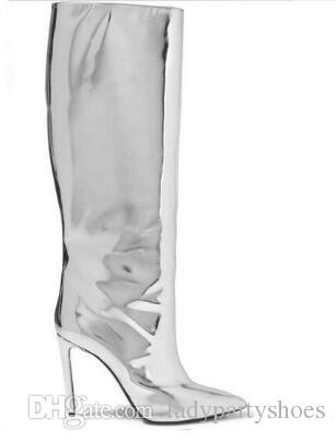Design unico Bling Bling 2018 Silver Mirror in pelle da donna Stivali a punta Tacco sottile Night Club Boot Donna Autunno Inverno Scarpe