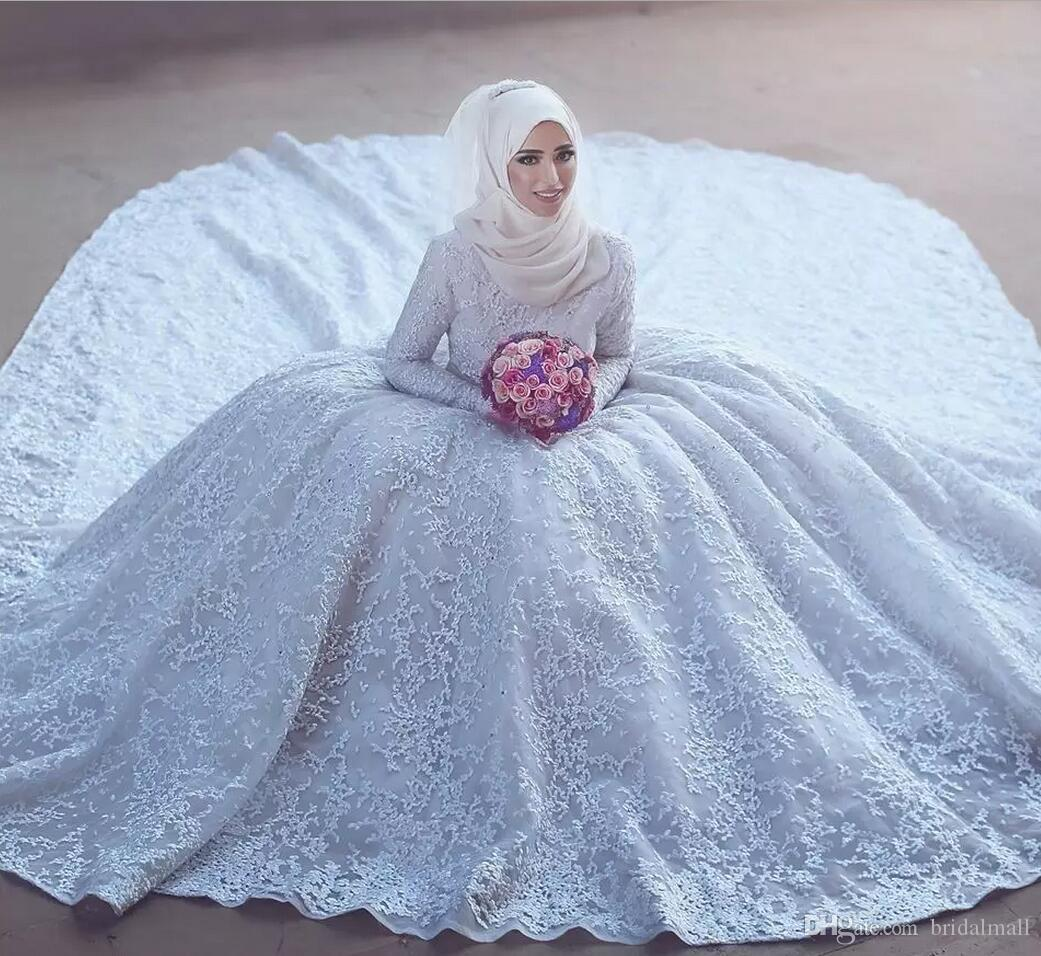 Modest Dubai Arabia Full Lace Long Sleeves Muslim Wedding Dresses 2019 Vintage High Neck Said Mhamad Bridal Gowns For Bride Court Train