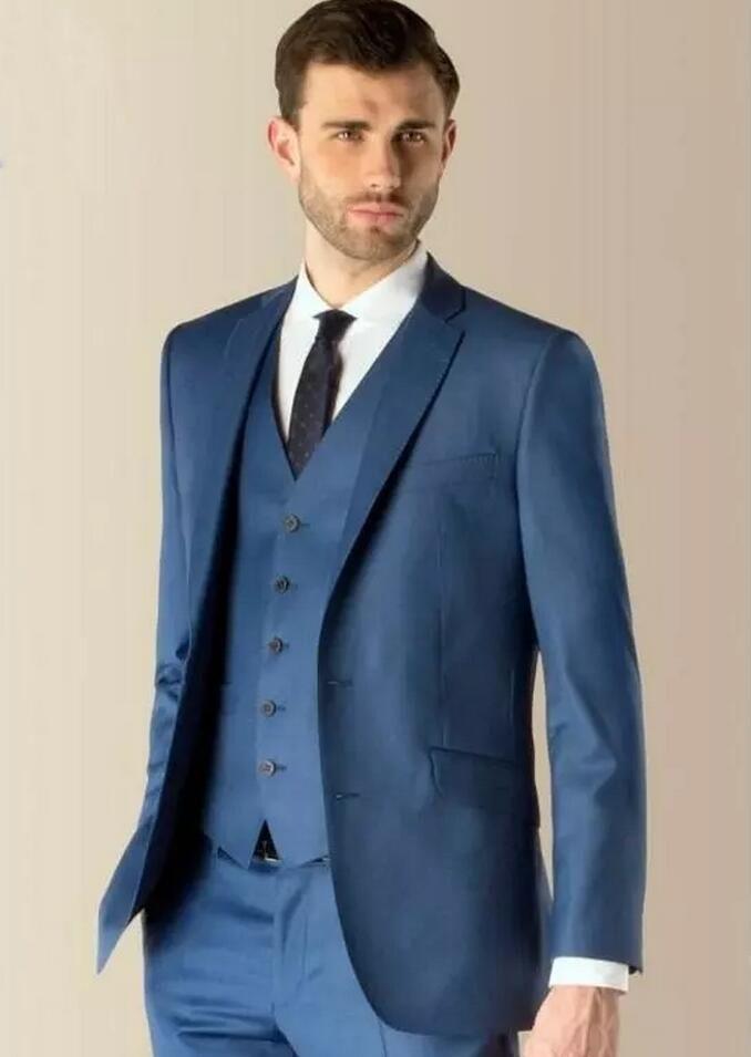 Custom Made Blue Groom Tuxedos Groomsmen The Best Man Suit Wedding ...