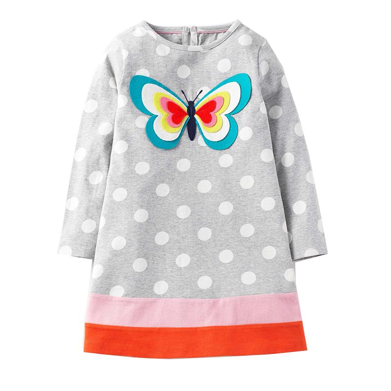 Jumping Meters Baby Girl Dress Floral Children Clothes Brand Princess Dress Birthday 100% Cotton Kids Dresses for Girls Clothing