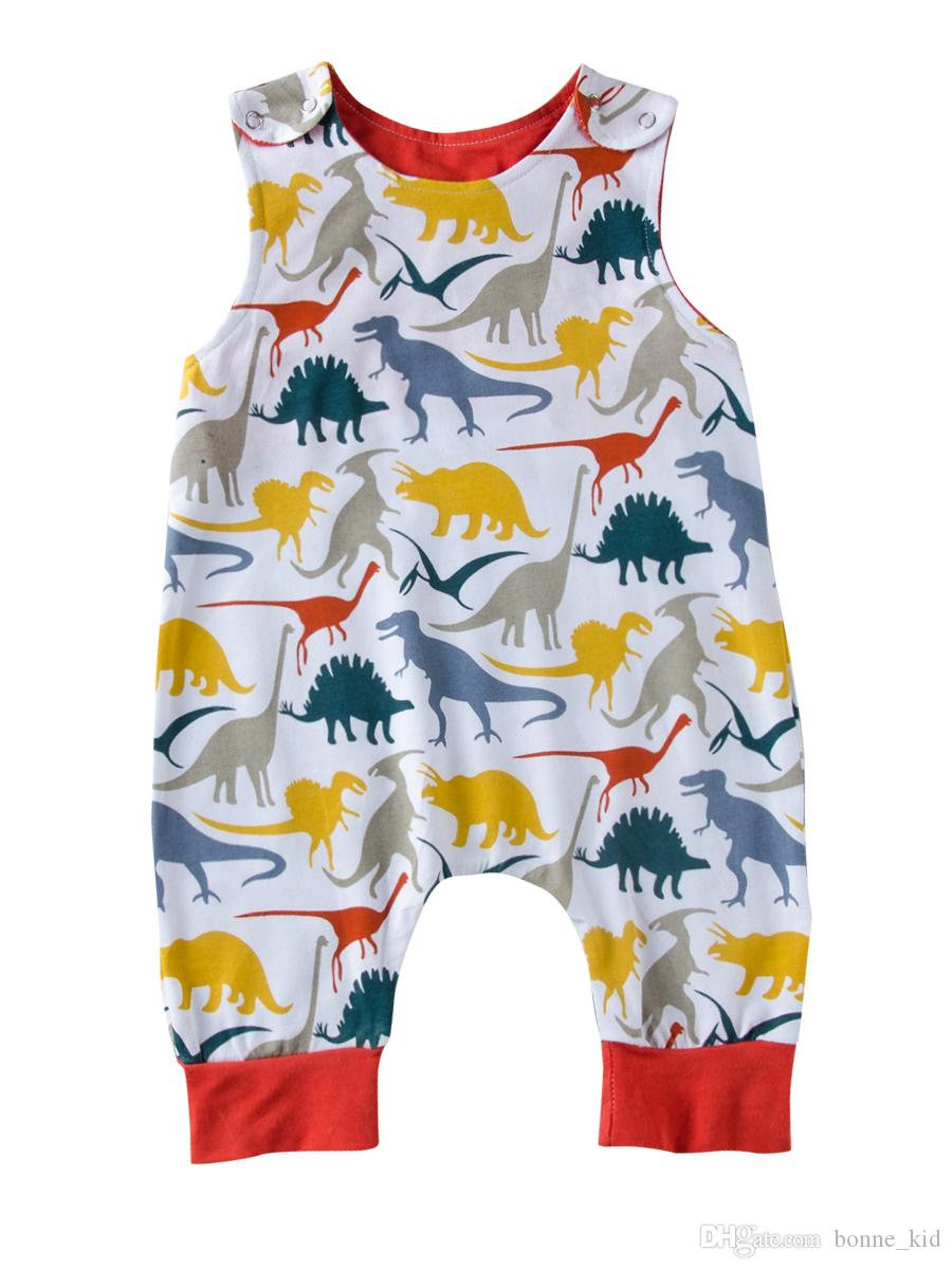 1f7bebcb3 2019 Cute Infant Newborn Baby Boys Dinosaur Romper Jumpsuit Sleeveless  Green Kids Outfit Bodysuit Boutique Summer Casual Kid Clothing From  Bonne_kid, ...