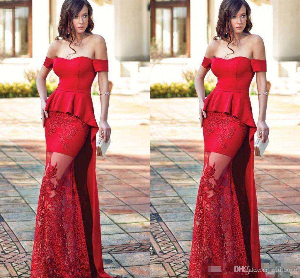 e549ef623e87 2018 Red Off Shoulder Evening Dresses Sheath Peplum Prom Gowns With Lace  Applique Floor Length Custom Made Vestidos De Noiva Back Zipper Blue Evening  ...