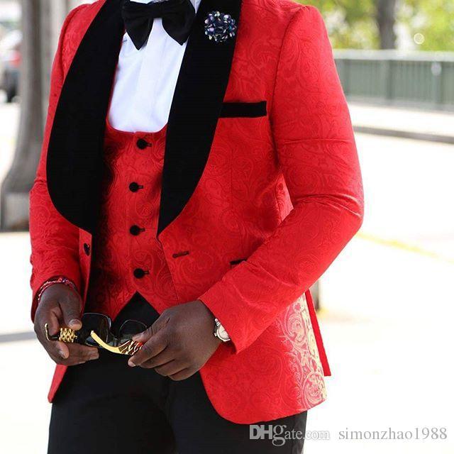 Costume Homme Mariage 2018 Custom Made Groom Men Suit Slim Fit Best Man Blazer Bridegroom Wedding Suits For Men Tuxedo Jacket+Pants+Vest+Bow