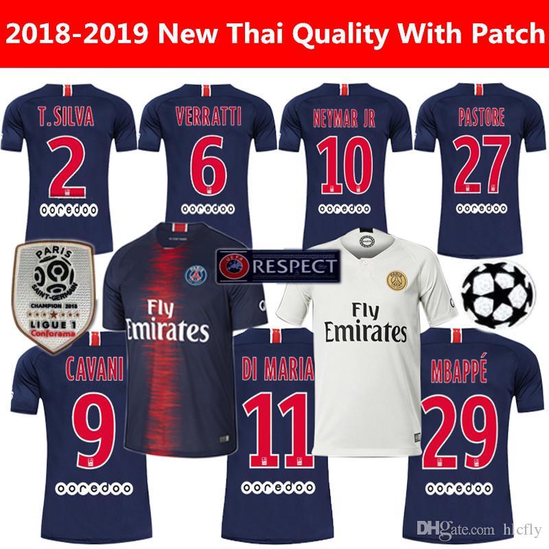 18 19 FC Paris Saint Germain Jersey PSG Jersey De Fútbol 7 MBAPPE 9 CAVANI  6 VERRATTI 11 DI MARIA SILVA Football Shirt Kits Por Hlcfly a5d95e71d0add