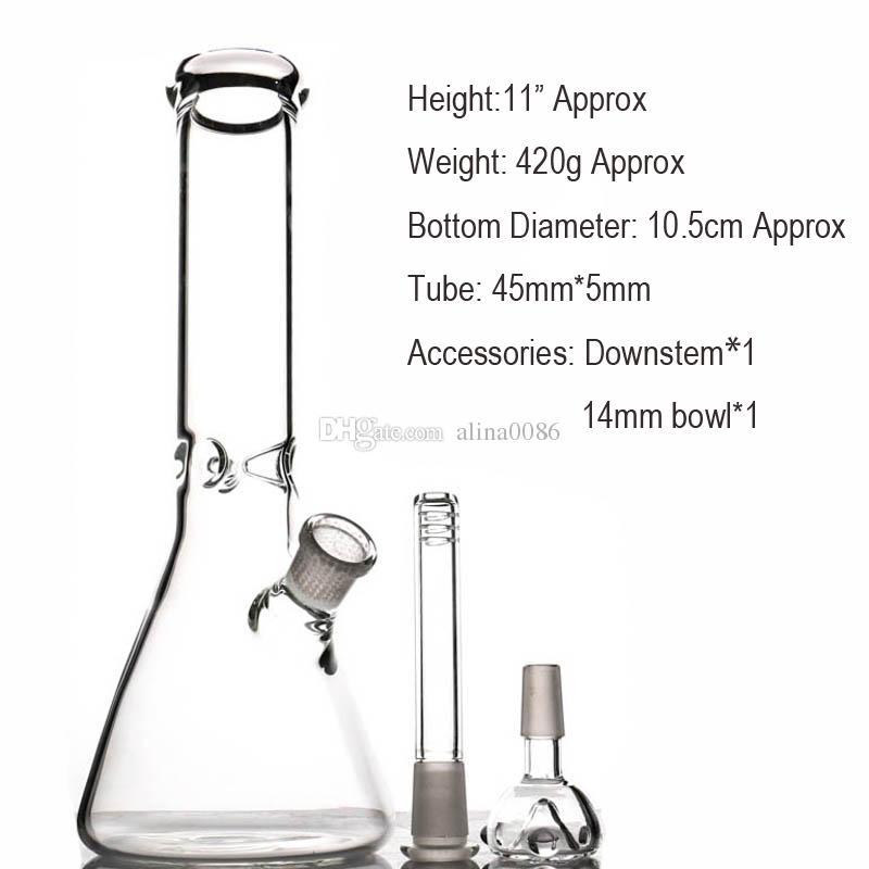Hookah Beaker Glass Bong Bong Tubos de agua Catcher de hielo Material grueso para fumar 10.5