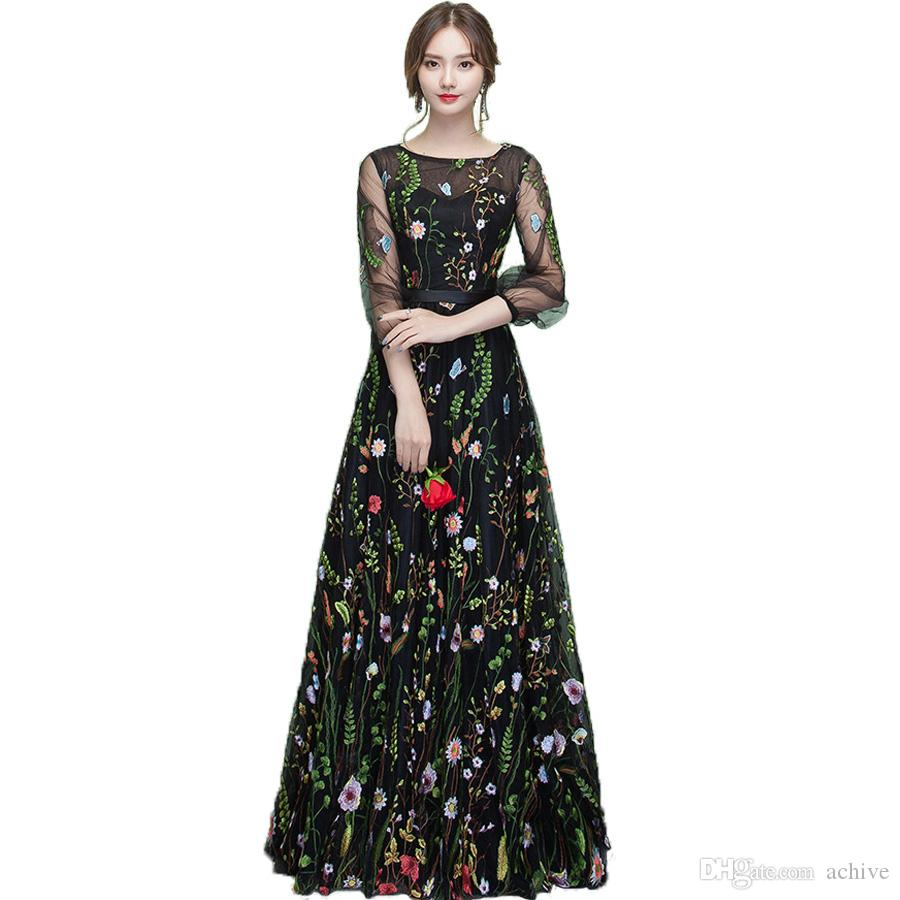 Stylish Black Printed Lace Prom Dresses With 3/4 Sleeves Illusion Long Prom Dress 2020 Cheap Evening Party Formal Gowns