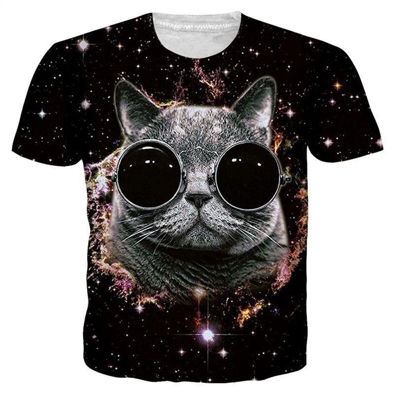 91f5718b Newest Fashion Cat T Shirt Funny 3D Printed Space Galaxy Women/Men Short  Sleeve Summer Unisex T Shirt Casual Tops K116 Cool Shirt Design Tshirts  Printed ...