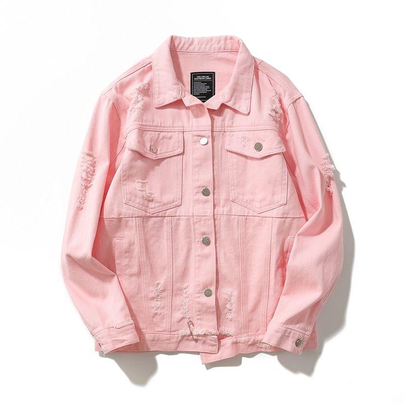 8e588b690 Harajuku Distressed Denim Jacket Unisex Spread Collar Coat Streetwear Free  Shipping