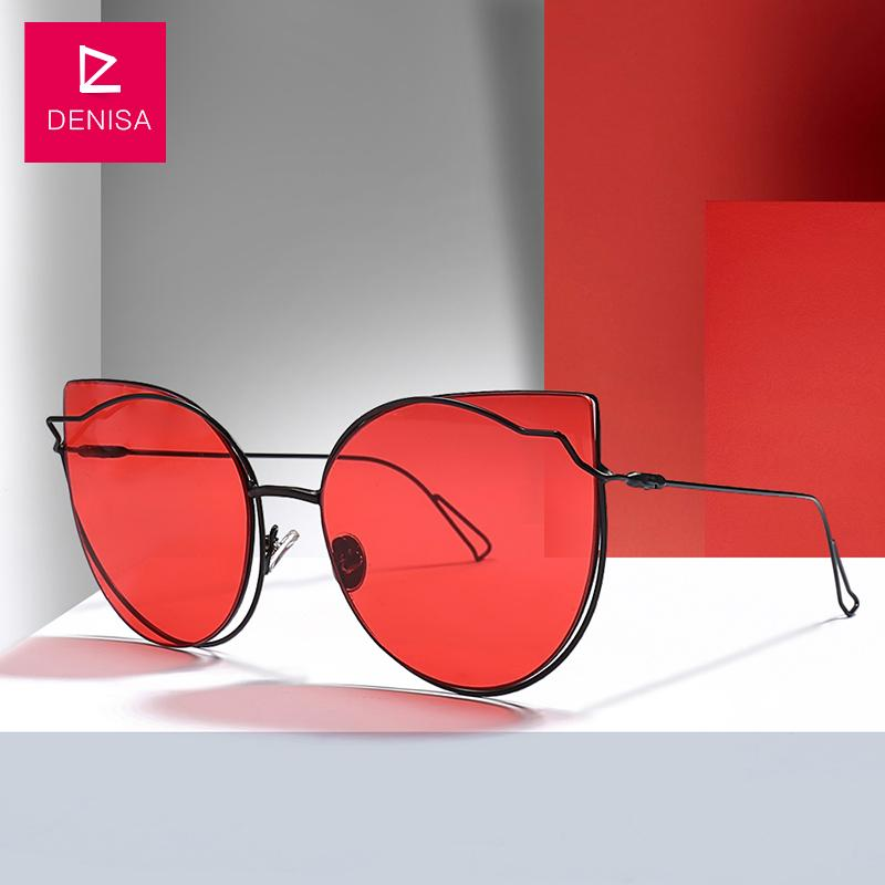 05e440fbb2 DENISA Vintage Red Cat Eye Sunglasses Women Fashion Brand Steampunk Retro  Girls Sun Glasses UV400 Lunette De Soleil Femme G18925 Sport Sunglasses ...