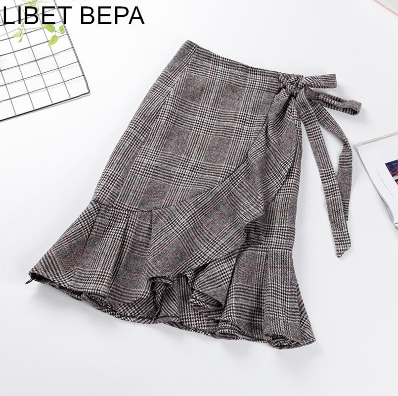 2019 New 2019 Autumn Winter Women Bandages Skirt Fashion Vintage A Line  Irregular Plaid Ruffles Lace Up High Waist Midi Skirts SK203 From Vikey10 66e96d97bcd