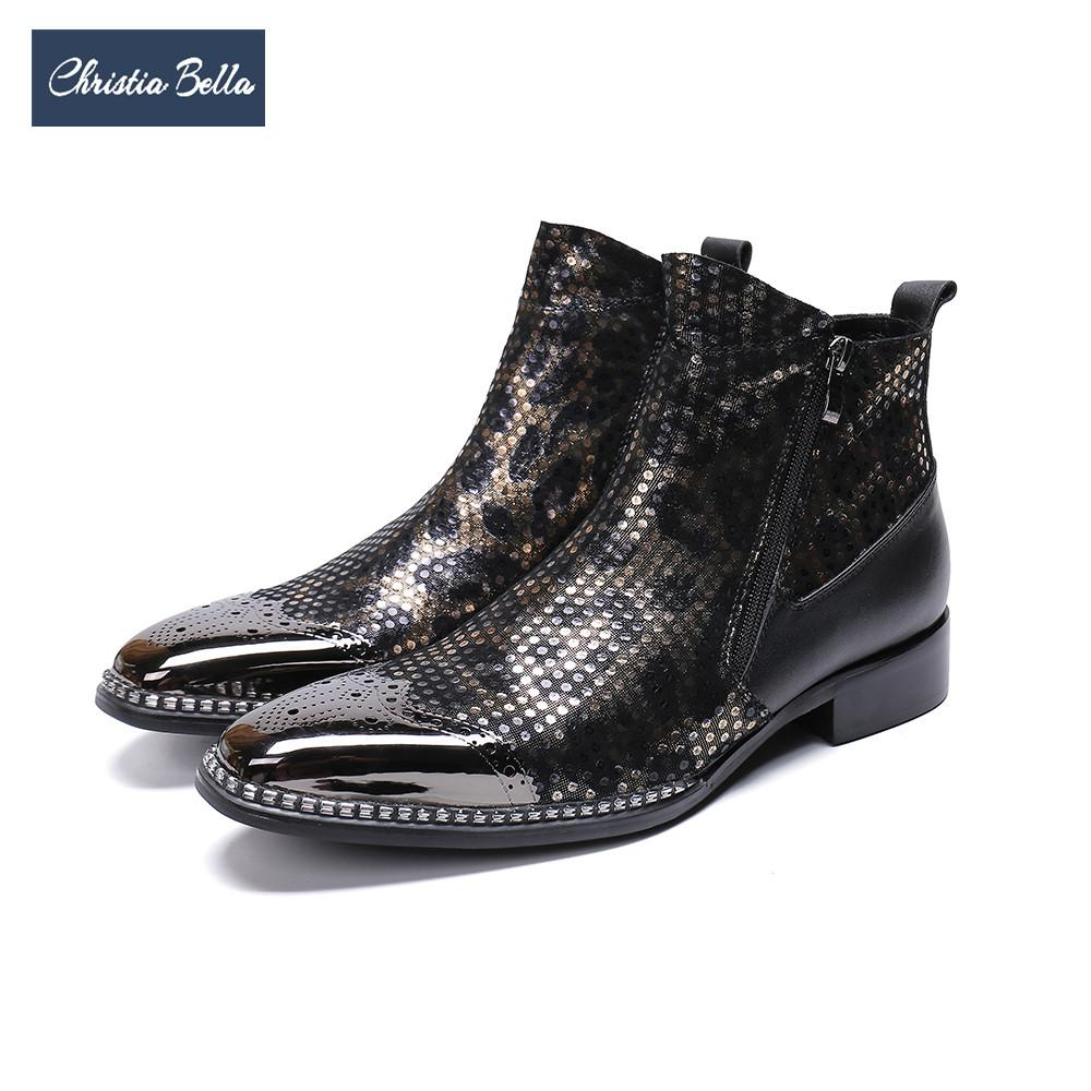 Christia Bella Fashion Bullock Square Toe Men Boots Plus Size Genuine  Leather Cowboy Ankle Boots Business Male Formal Shoes Wedge Shoes Boots  Online From ... b616aaa6eb4d