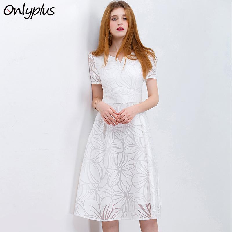 Großhandel Großhandels PLUS S XXL Frauen Weißes Kleid Kurzschluss Hülsen A  Line Midi Partei Kleid Beiläufige efcb01ff78