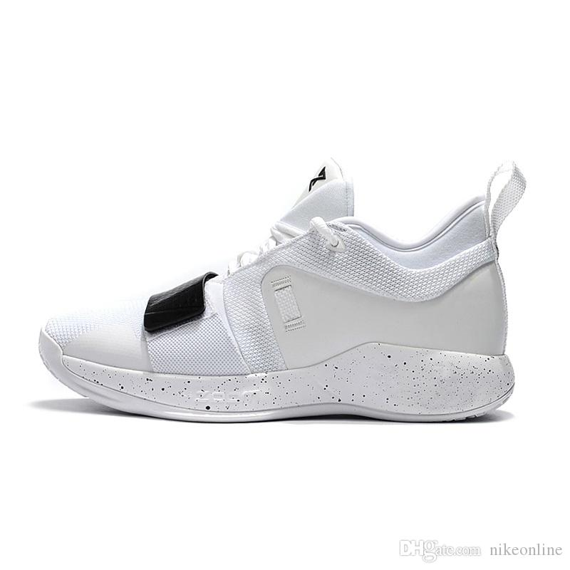 Cheap new 2018 Mens PG 2.5 Elite basketball shoes 2s Triple White Black Zoom Air Cushion Paul George PG2 sneakers with original box for sale