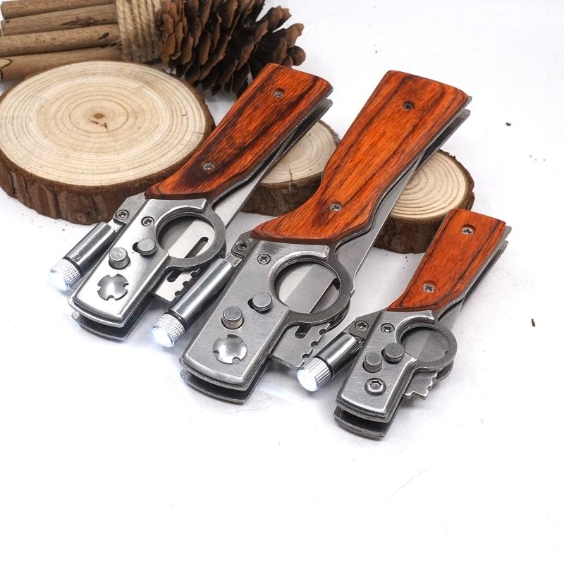 AK47 Gun Knife Folding Pocket Knife 440 Blade Wood Handle Outdoor EDC Multitool Tactical Camping Survival Knives With LED light