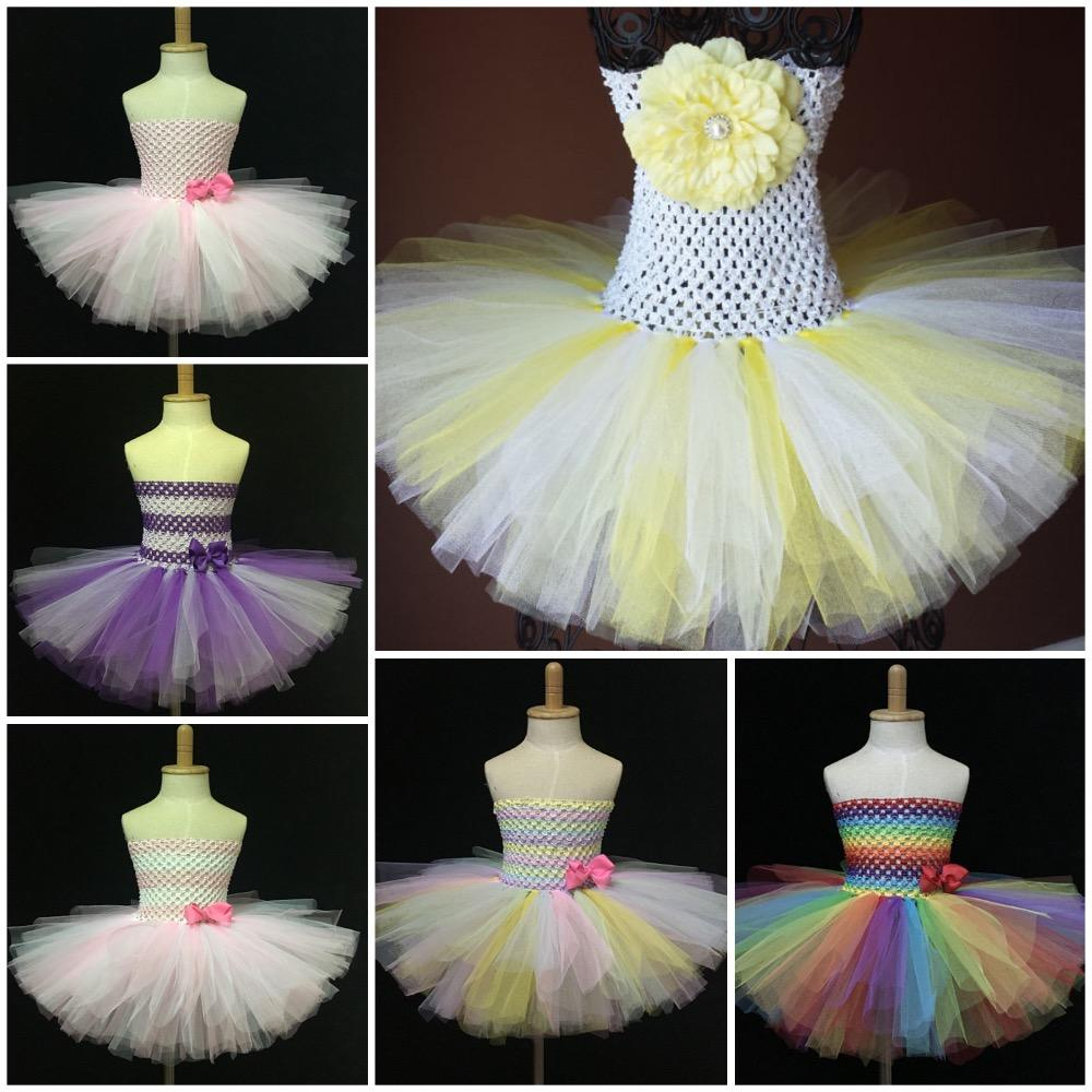 98f0668b856e4 Multicolor Girls Crochet Tutu Dress Baby Fluffy 2Layer Tulle Dress Ballet  Tutus with Grosgrain Bow Kids Party Costume 5Pcs