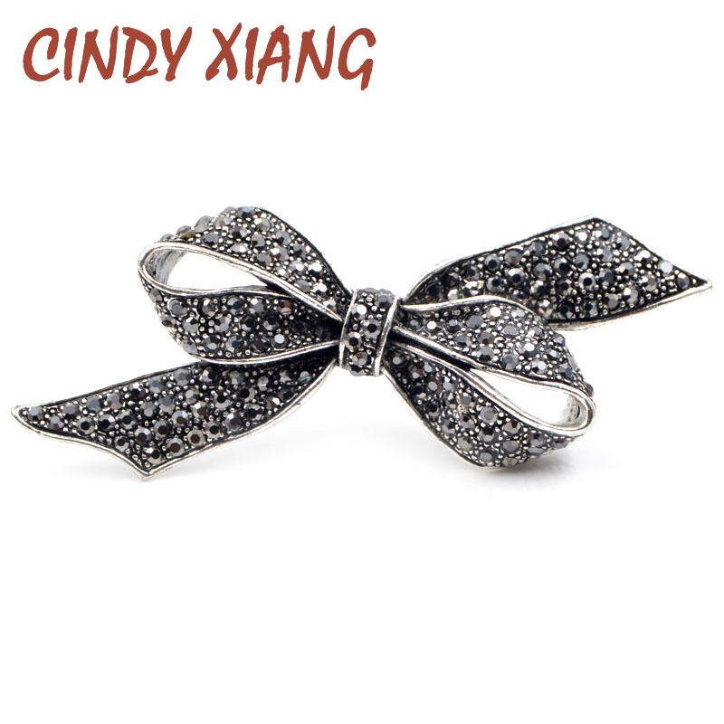c234a64d704a1 CINDY XIANG Rhinestone Bow Brooches for Women Vintage Black Brooch ...