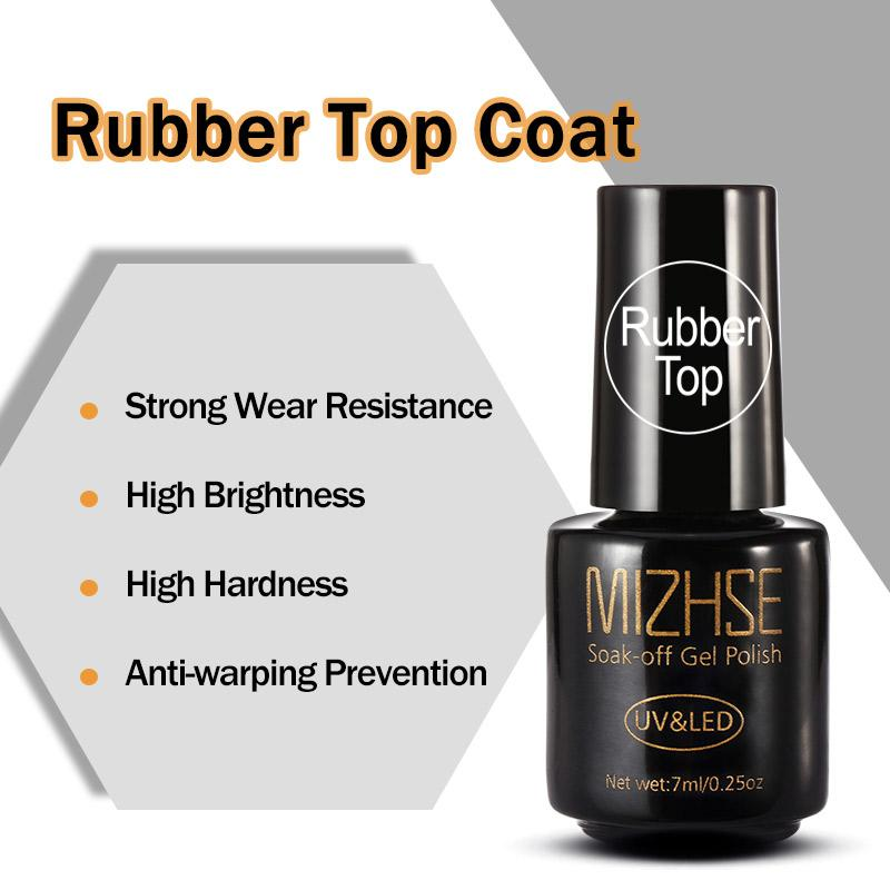MIZHSE Rubber Top Coat UV Resin Gel Rubber No Sticky Layer Non Cleaning  Glossy Nail Polish Cover Vernis GelPolish Primer Lacquer