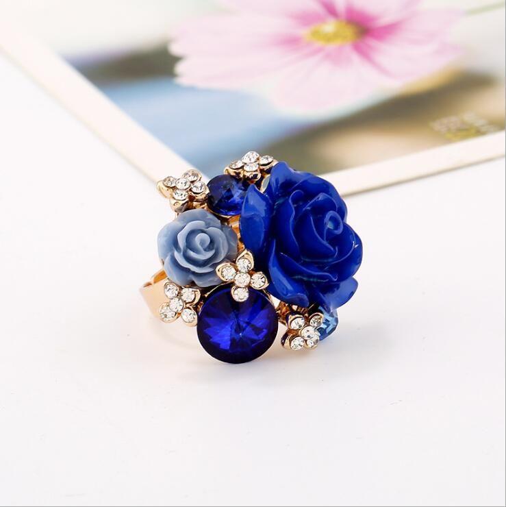 es de Resina Anillo de Dedo de Las Mujeres Micro Inlay Full Blue Zircon Ajustable Boda Prom Fiesta de Boda Joyería Nupcial Azul Rojo Accesorios
