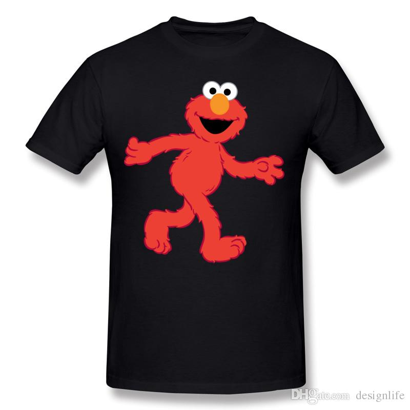 Brand Men Cotton Sesame Street Elmo T Shirts Men Round Neck White Short Sleeve T Shirts Big Size Customized T Shirts